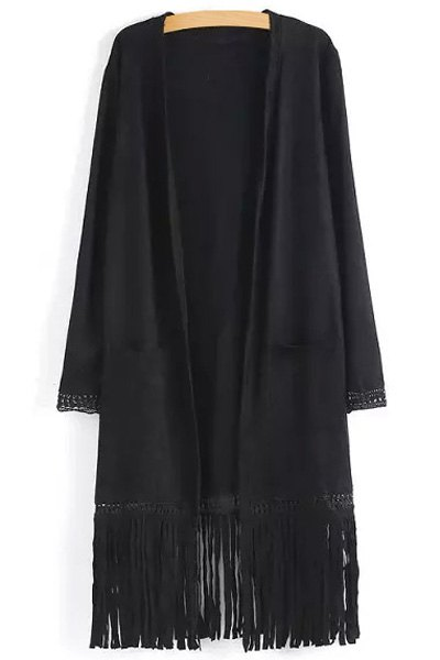 Two Pockets Fringed Suede Coat - BLACK S