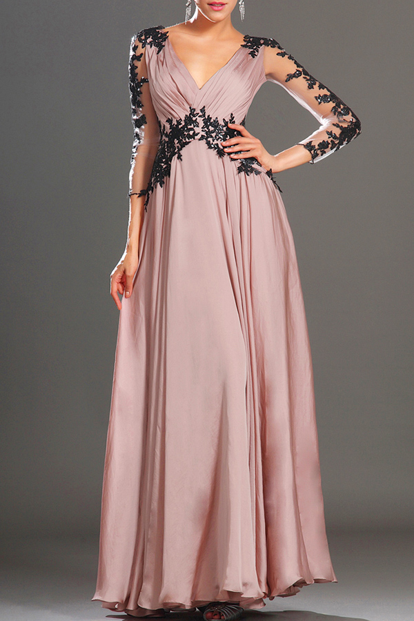 Lace Spliced Plunging Neck Long Sleeve Maxi Dress