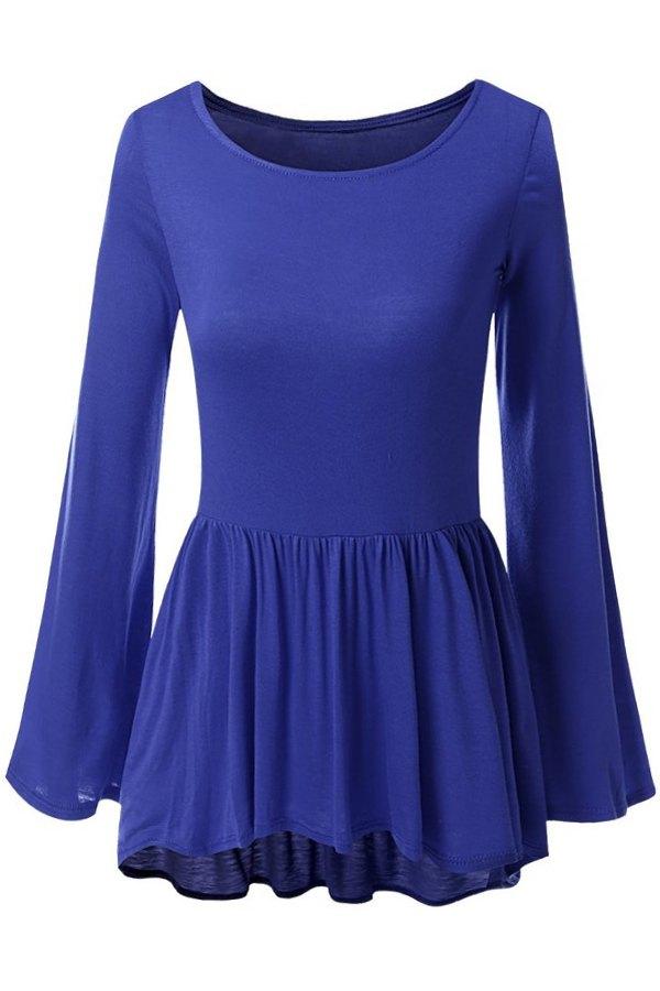 Bell Sleeve Solid Color Peplum T-Shirt, Deep blue