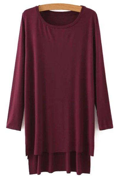 Side Slit Long Sleeves Solid Color Loose Fittng Dress - CLARET S