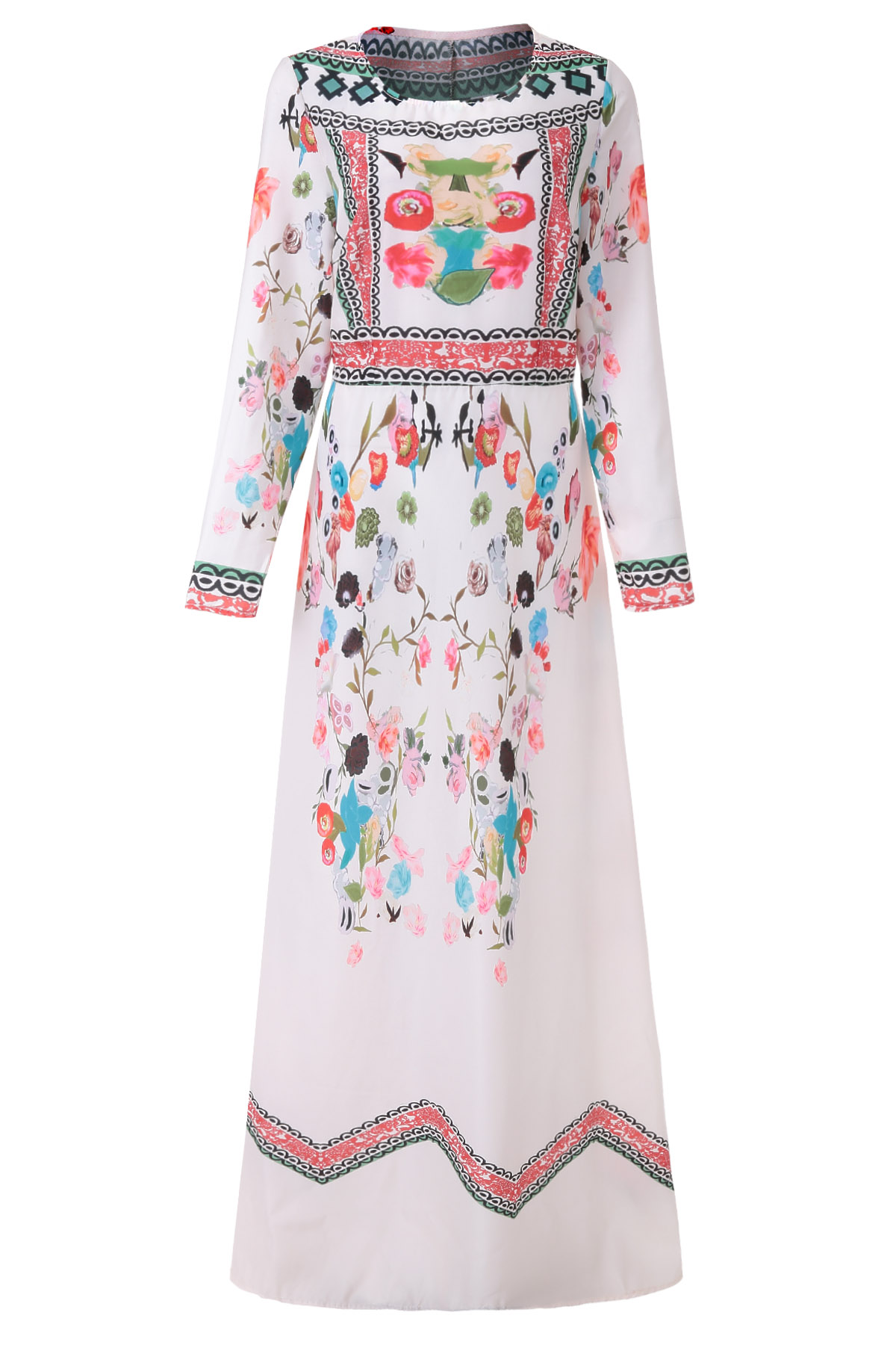 Jewel Neck Colorful Print Floral Long Sleeve Dress - BLUE S