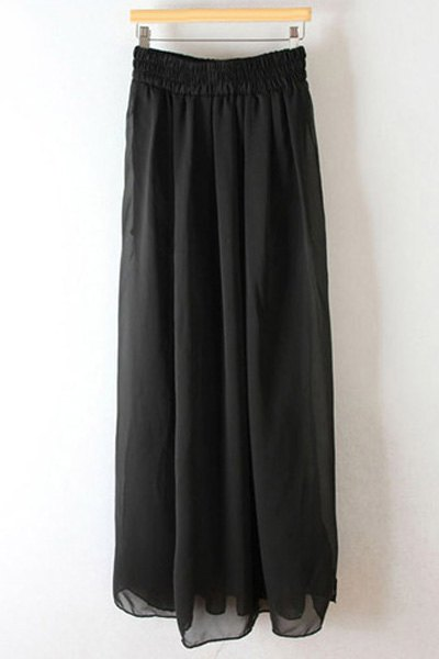 Pleated High Waisted Chiffon Long Skirt - BLACK ONE SIZE(FIT SIZE XS TO M)