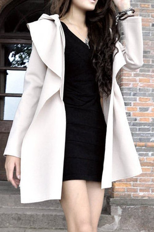 Pure Color Long Sleeve Hooded Trench Coat, Apricot