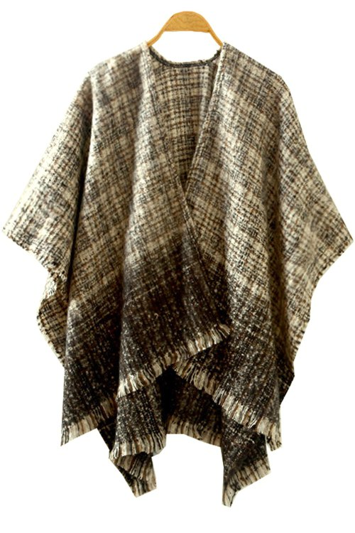 Ombre Color Half Sleeve Cardigan - KHAKI ONE SIZE(FIT SIZE XS TO M)