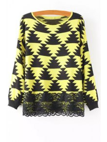 Geometric Pattern Lace Spliced Sweater