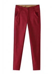 Mid-Waisted Narrow Feet Red Pants
