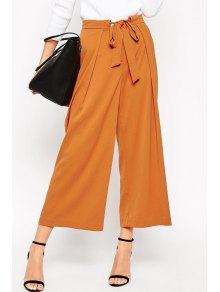Soft Culotte With Tie Waist - Camel