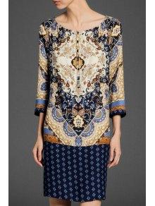 Scoop Neck Floral Print 3/4 Sleeve Dress - Purplish Blue M
