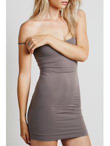 Solid Color Cami Bodycon Dress - Light Coffee S
