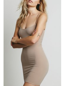 Solid Color Cami Bodycon Dress - Light Brown L