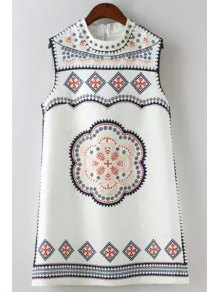 Ethnic Print Round Neck Sleeveless Dress - White L