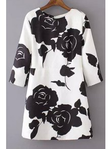 Black Floral Print 3/4 Sleeve Dress - White S