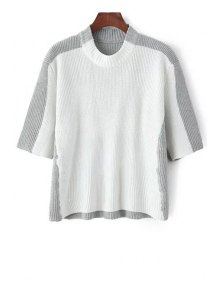 Round Neck White Grey Splicing Half Sleeve Sweater