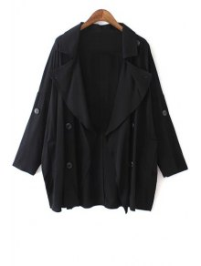 Solid Color Loose-Fitting Trench Coat - Black L