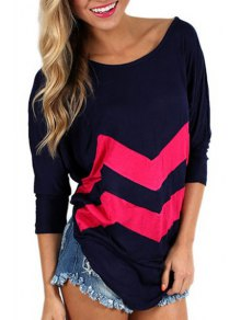 Zig Zag Scoop Neck Long Sleeve T-Shirt