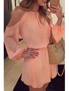 Off-The-Shoulder Pink Chiffon Dress - Pink