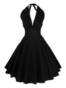 Solid Color Halter Flare Dress - Black 2xl