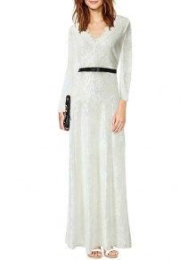 V Neck Floral Pattern Lace Long Sleeve Dress - White