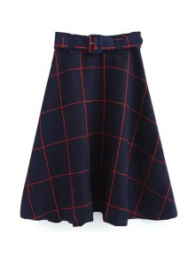 Plaid A-Line Midi Skirt With Belt