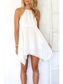 Halter Neck Solid Color Lace Edging Dress - White L