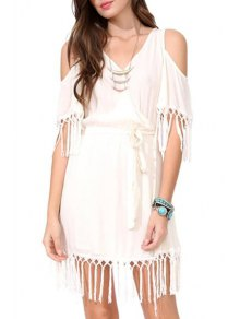 V Neck Solid Color Tassel Splicing Dress - White M