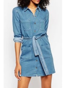 Blue Denim Turn Down Collar Long Sleeve Dress - Blue S