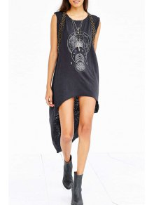 Sleeveless Geometric Print Dovetail Dress - Black M