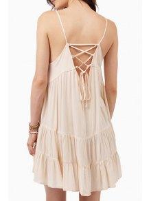 Spaghetti Strap Lace-Up Flare Dress - Off-white Xl
