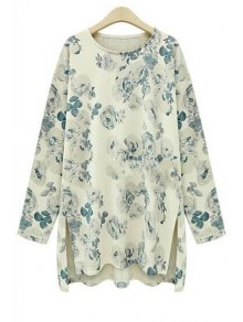 Floral Print High Low Long Sleeve T-Shirt