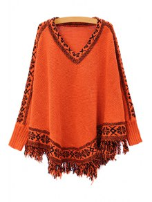 Batwing Sleeve Tassels Cape Sweater - Jacinth