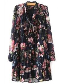 Full Floral Long Sleeves Chiffon Dress - Black L