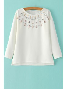 Diamante Jewel Neck Long Sleeve Sweatshirt