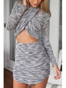 Cross Collar Color Block Stripe Long Sleeve Dress - Gray S