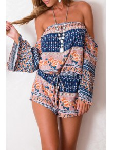 Slash Neck Floral Print Tie-Up Romper