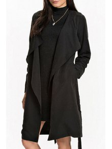 Self Tie Turn Down Collar Long Sleeve Trench - Black Xl