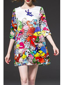 Half Sleeve Colorful A-Line Dress - White Xl