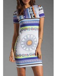 Vintage Print Round Collar Sleeveless Dress - S