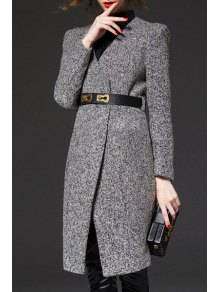 V-Neck Gray Trench Coat - Gray S