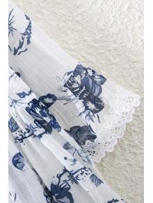Ink Floral Print V Neck 3/4 Sleeve Blouse