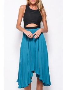 Scoop Neck Backless Color Block Sleeveless Dress - Blue