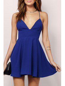 Spaghetti Strap Backless A-Line Dress - Blue M
