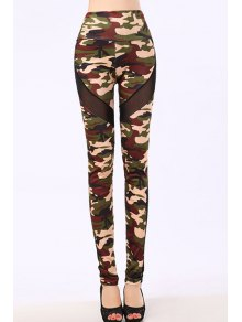 Camo Voile Splicing Narrow Feet Leggings