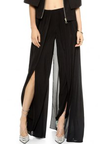 Solid Color High Slit Elastic Waist Pants