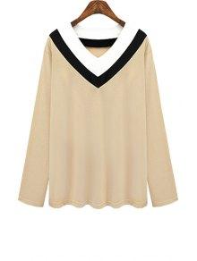 V Neck Color Block Stripe T-Shirt