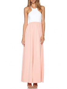 Spaghetti Strap Spliced Chiffon Dress - Pink And White Xl