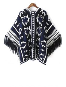 Jacquard Tassels Cape Sweater - BLUE ONE SIZE(FIT SIZE XS TO M)