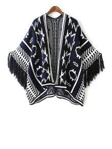 Jacquard Tassels Cape Sweater