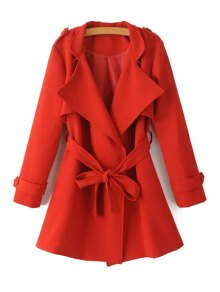 Turn-Down Collar Belt Pure Color Trench Coat