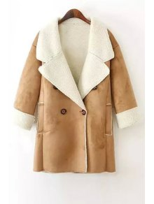 Lamb Wool Double-Breasted Long Sleeve Trench Coat - Khaki S