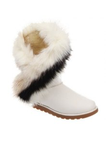 Color Block Faux Fur Snow Boots - White 41